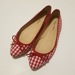 Gingham Red and White Checkered Bow Ballet Flats